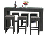 B-027-Outdoor-Rattan-Wicker-Long-Bar-Table-with-6-PCS-Chair